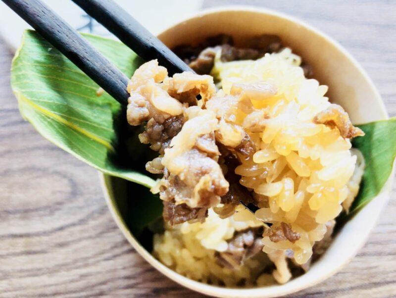 神田商店の米沢牛おこわの牛肉と米