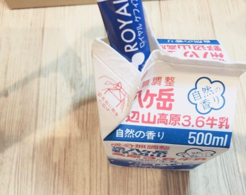 ロイヤルケフィアプロのたね菌を牛乳パックに入れる